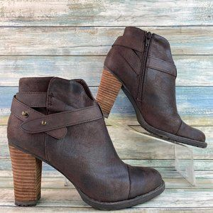 Crown Vintage Brown Stacked High Heel Ankle Boots